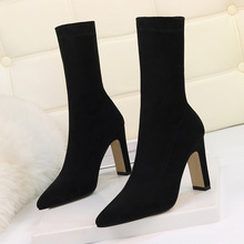Plus Size High Heel Boots Sock Women 2020 Flock Shoes Sexy Party Thick Heel Ankle Booties Female Winter Pointed Toe Boots Shoes