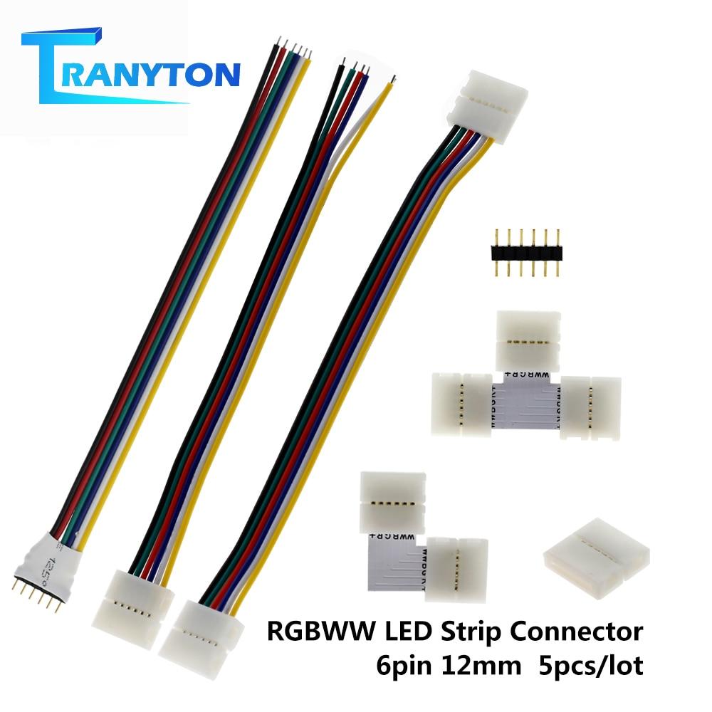 6Pin 12mm LED Strip Conector para Conector de Solda Livre de Tira RGBWW LEVOU 5 pçs/lote L/T Forma