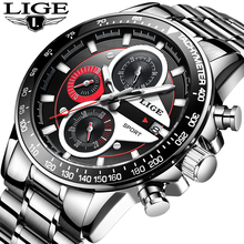 LIGE Fashion Men Watches Male Creative Business Chronograph Quartz Clock Stainle