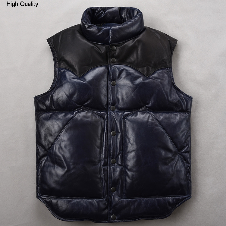 Winter Men's Genuine Leather Down Jacket Sleeveless Sheepskin Vest Stand Collar Slim Short Thick Waistcoat Keep Warm Clothing