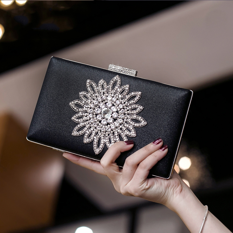 Luxy Moon White Clutch Bag Women's Evening Clutch Hand Bag Sun Flower Crystal Wedding Purse For Bridal Black Shoulder Bag ZD1525
