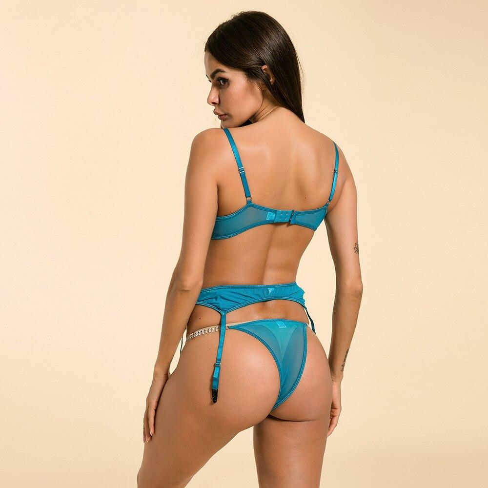 Ensemble de soutien-gorge Transparent Ultra-mince avec chaîne en cristal ensemble de soutien-gorge en dentelle 3 pièces/ensemble + pinces + jarretière sous-vêtements Sexy