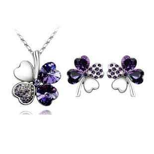 Fine Jewelry Austria kryształ głęboki fioletowy wisiorek 925 Sterling Silver naszyjnik kolczyki prezent, biżuteria ślubna zestaw kobiet S0138