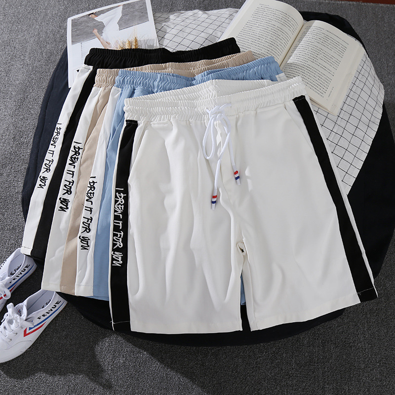 Summer Sports Shorts Men Loose-Fit Fifth Pants Bermuda Shorts Youth Beach Shorts Embroidered Large Trunks