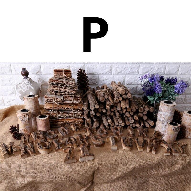 Вместе с коры твердой древесины Ретро Деревянный Английский алфавит номер для кафетерий украшение для дома, ресторана винтажная самодельная буква - Цвет: P
