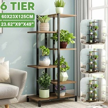 Display Shelf Flower-Stands Plant-Rack Iron Wooden 6-Tiers 5 60x23x125cm Link VIP