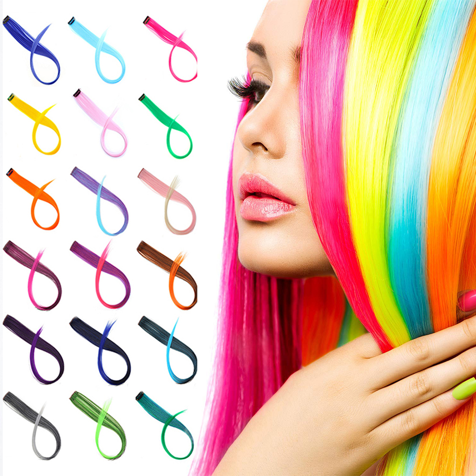BUQI Colored Highlight Synthetic Hair Extensions Clip In One Piece Color Strips 20