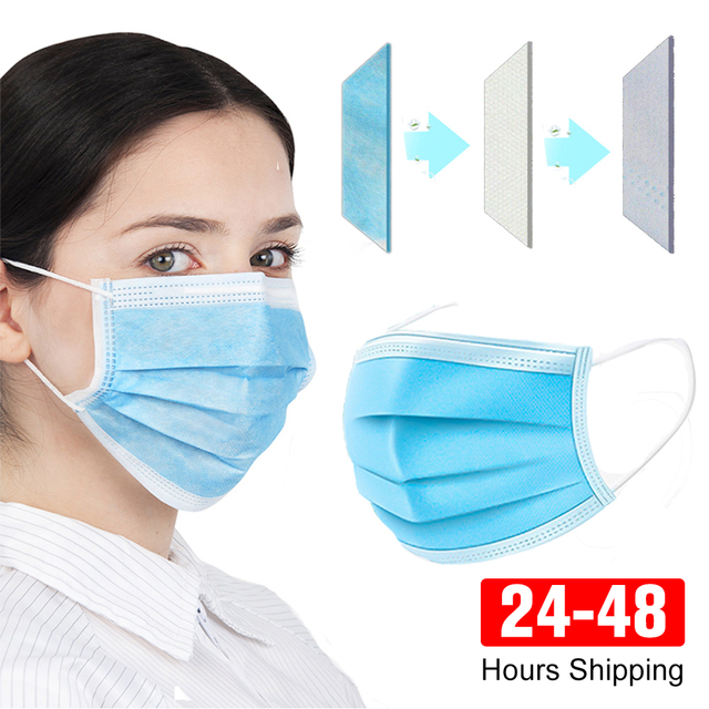 100pcs Protective face Masks Disposable 3 ply mascara Anti Dust Flu Windproof Bacteria Breathable Mouth Masks Earloop for Adults 2