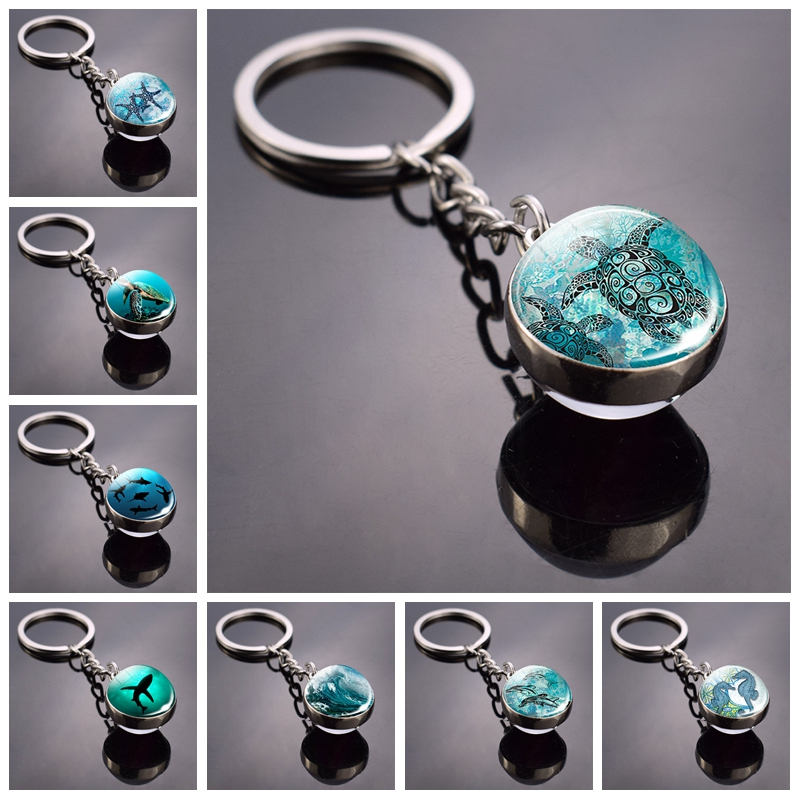 Sea Turtle Keychain Starfish Dolphins Turtle Picture Glass Ball Key Chain Double Side Cabochon Glass Keyring Turtle Jewellry