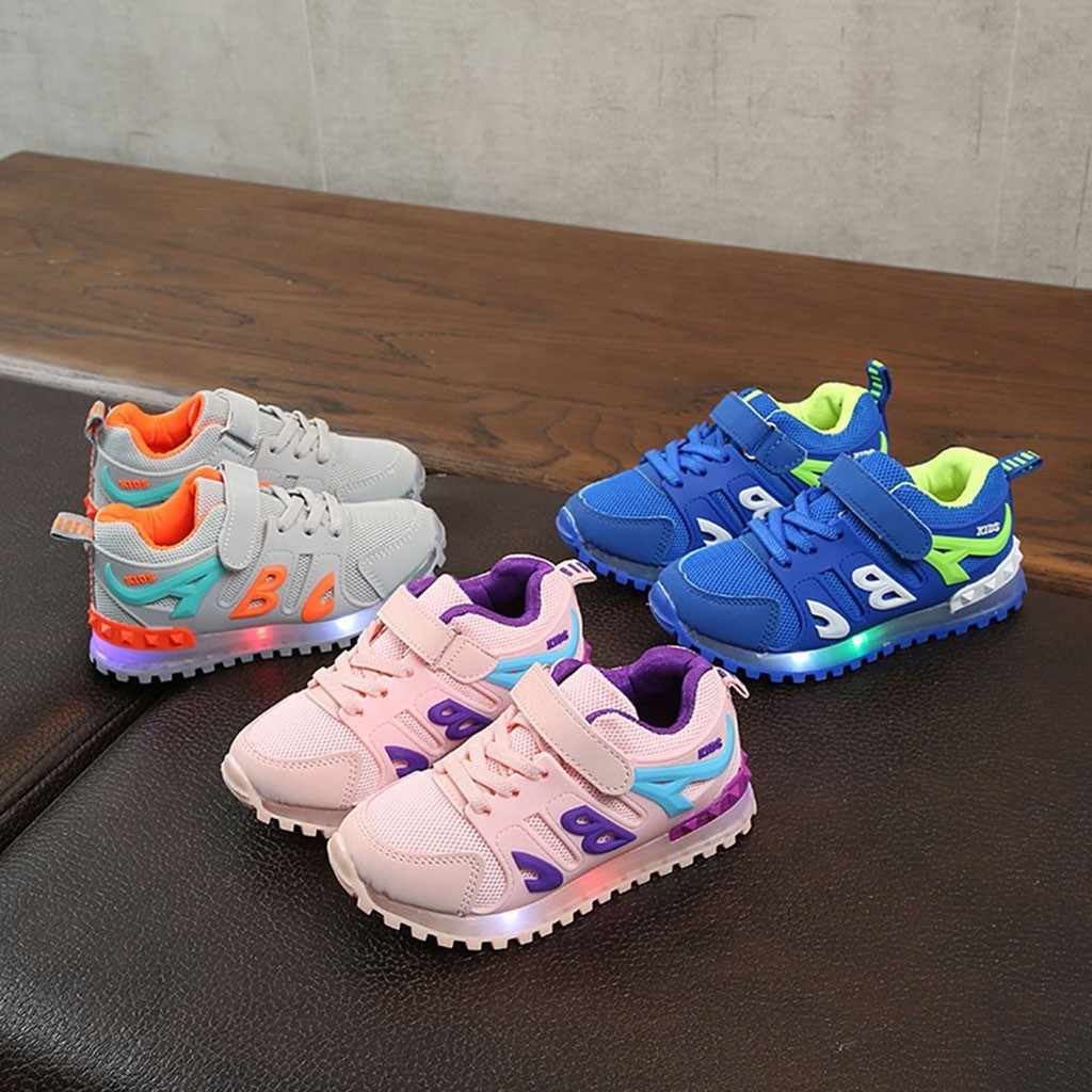 children shoes girls Baby Girls Boys Breathable Mesh Led Luminous Sport Run kids sneakers lights Shoes chaussure enfant