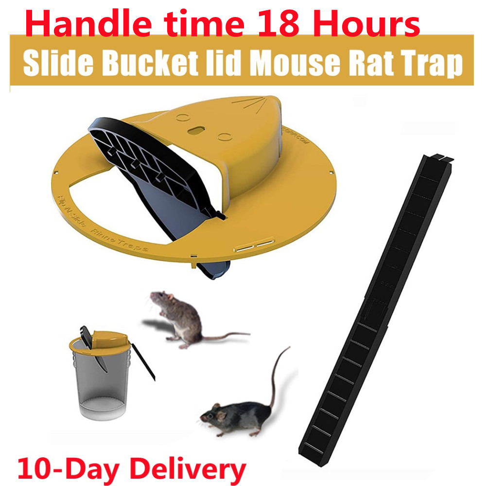 Mice Trap Reusable Smart Flip and Slide Bucket Lid Mouse Rat trap Humane Or Lethal Trap Auto Reset Rat Door Style Multi Catch