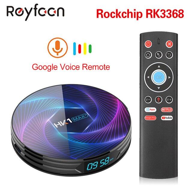 HK1 MAX Plus TV Box Android 9.0 Octa Core Rockchip RK3368PRO USB3.0 1080P H.265 4K 60fps Google Player Netflix Youtube Media pla