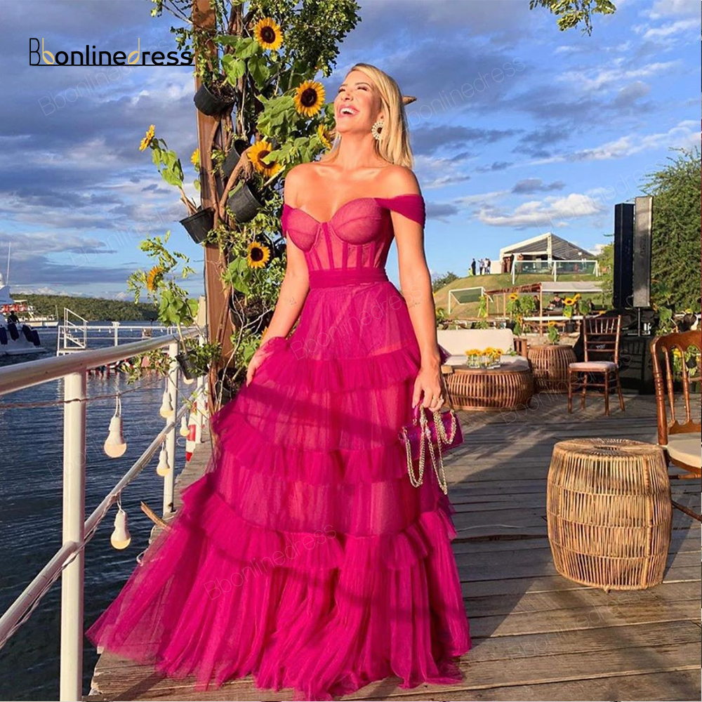 Bbonlinedress Long Prom Dress Tulle A-Line Prom Dresses Off The Shoulder Floor  Length Formal Party Gowns Robe-de-soiree