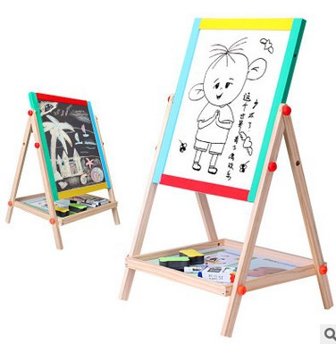 Wooden Early Educational Teaching Aid Drawing Board Blackboard Wooden Braced Magnetic Double-Sided Two-in-One Double-Sided Sketc