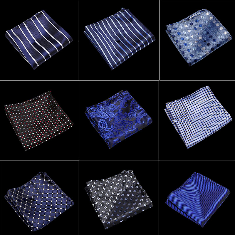 100% Silk Men's Hankerchief Scarves Vintage Hankies Men's Pocket Square Handkerchiefs Striped Solid Handkerchief 22*22 Cm