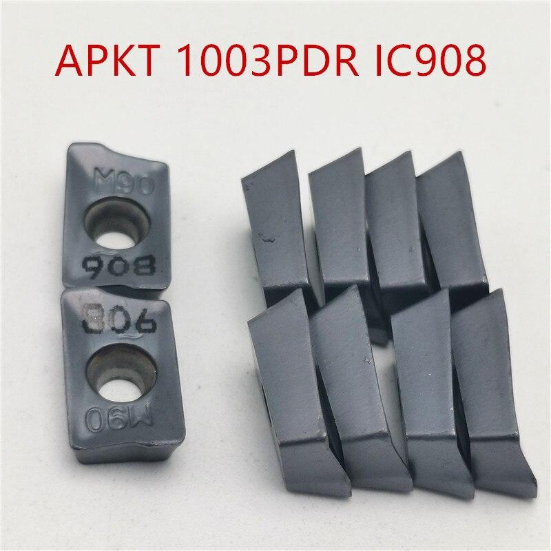 20PCS HM90 APKT1003 PDR IC908 Carbide Blade Turning Lathe Tool Milling Cutter CNC Tool Semi-precision Machining APKT 1003