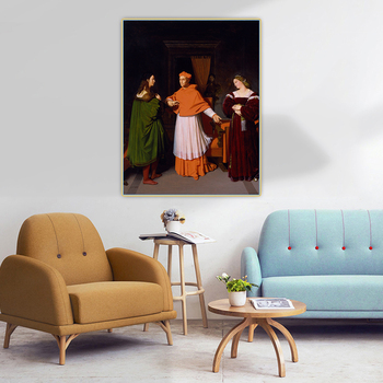 Citon Ingres《The Betrothal of Raphael and the Niece of Cardinal Bibbiena》Canvas Art Oil Painting Wall Decor Home Decoration image
