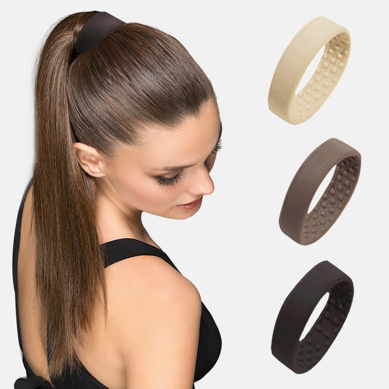 New Fashion Donuts Foldable Stationarity Elastic Hair Bands Hair Accessories For Women Girls Silicone Scrunchies Ponytail Holder