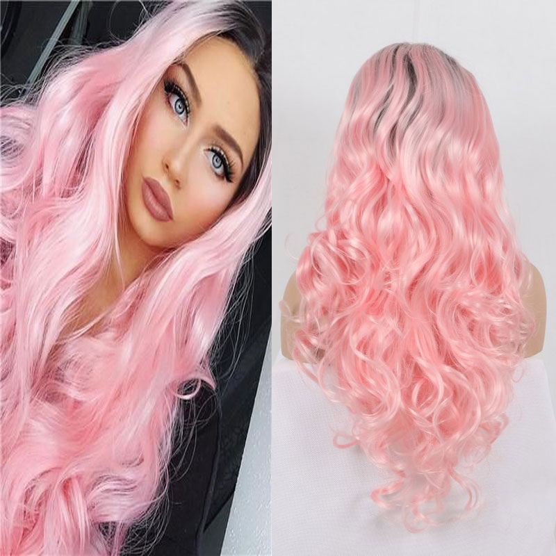 BM Black Rooted Living Pink Body Wave Synthetic 13*3 Lace Front Wig Heat Resistant Fiber Hair Natural Hairline For Women Wigs