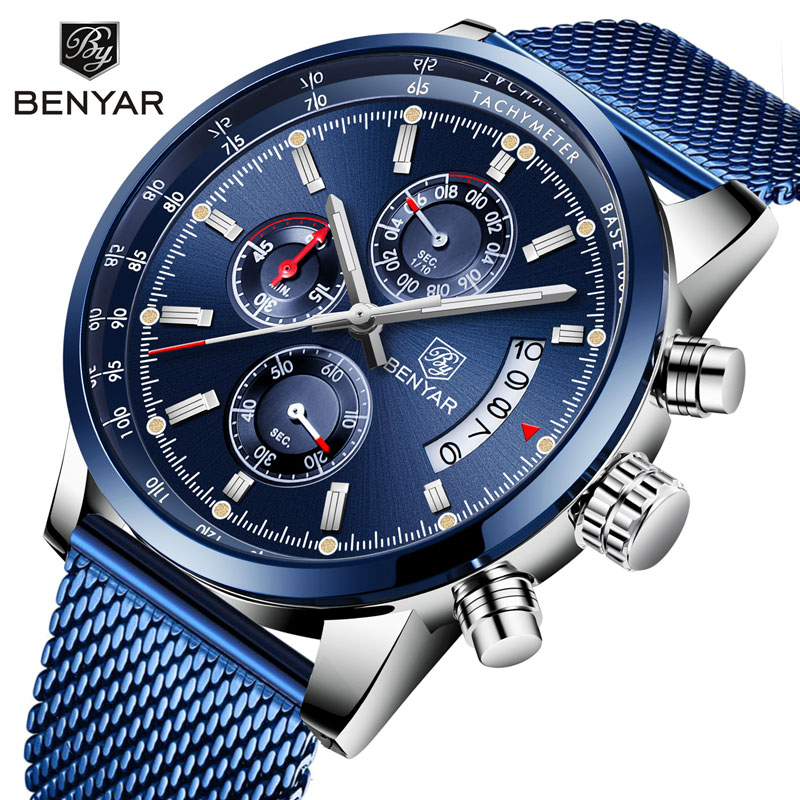 <font><b>BENYAR</b></font> 2019 New Men's Watches Top Brand Luxury Watch Men Quartz Watches Chronograph Military Watch Clock Man Relogio Masculino image