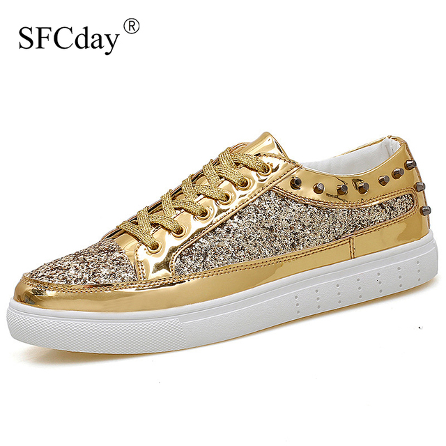 ใหม่ 2019 ใหม่ลำลองผู้หญิงรองเท้าฤดูใบไม้ผลิฤดูใบไม้ร่วง PU Bling แฟชั่น Sliver รองเท้าผ้าใบสตรี LACE UP ผู้หญิงรองเท้ารองเท้าขนาดใหญ่