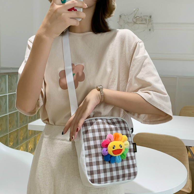 Small Handbag Sunflower Messenger-Bag Canvas Plaid Fashion Women for Cute