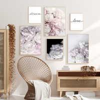 Rose Flowers Nordic Poster Romantic Canvas Painting Quadro Plants Love Peony Prints Cuadros Home Decor tableau schilderij