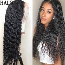 Encaracolado 13x4 frente do laço peruca de cabelo humano onda profunda 4x4 encerramento peruca pré arrancado 360 perucas frontal do laço para preto remy onda água