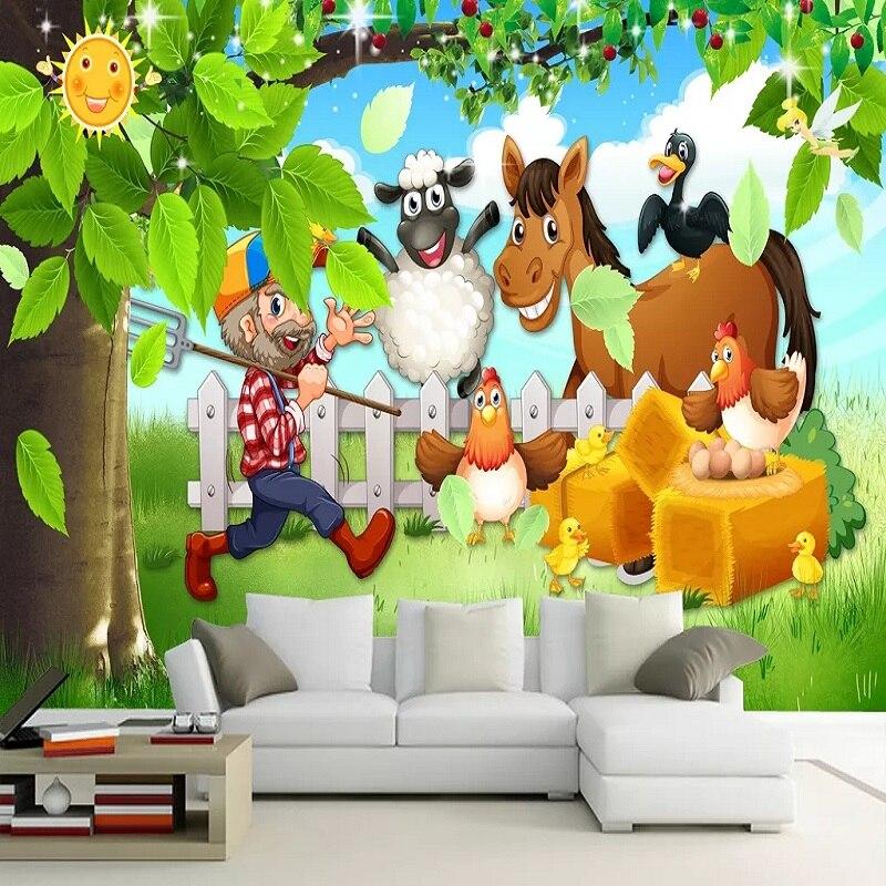 Custom Large Mural 3D Wallpaper Fairy Tale World Cartoon Farm Animals Child Bedroom Mural TV Back Wall Decor Deep 5D Embossed