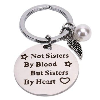 """1 Pza mejores amigos llavero con perlas llavero """"no son de sangre, sino de corazón"""" Regalo joyería de amistad para mujeres y niñas"""