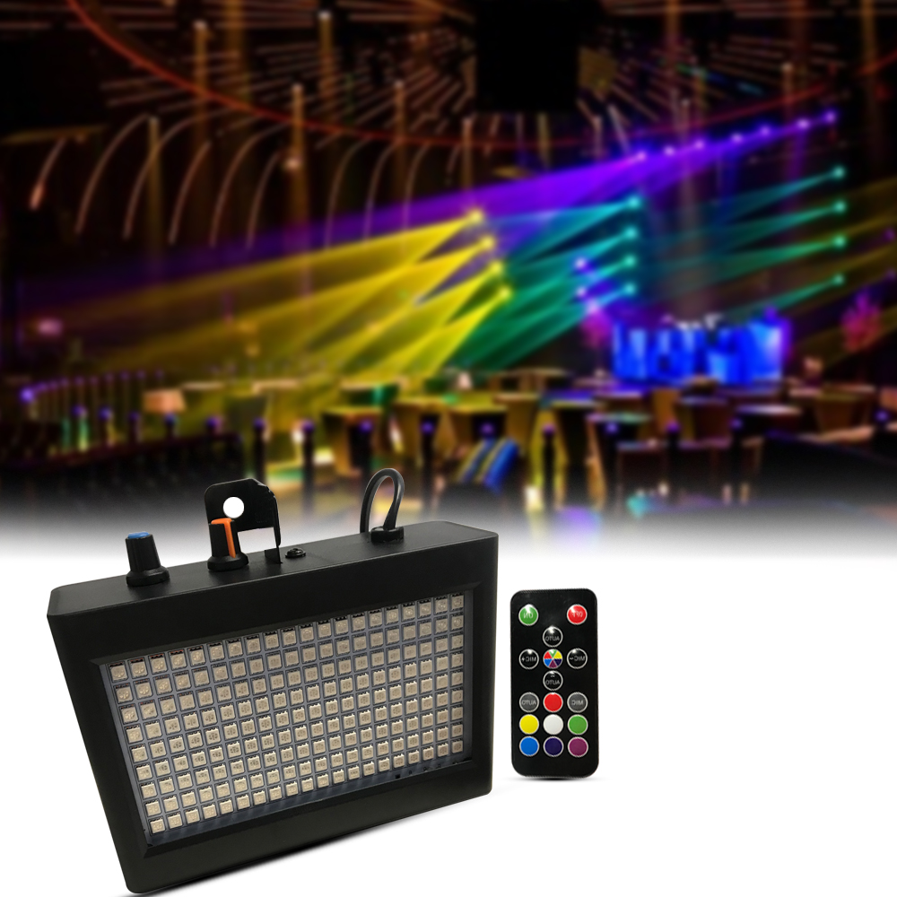 180 Leds Strobe Flash Light Portable 35W Rgb Remote Sound Control Strobe Speed Adjustable For Stage Disco Bar Party Club Eu Plug