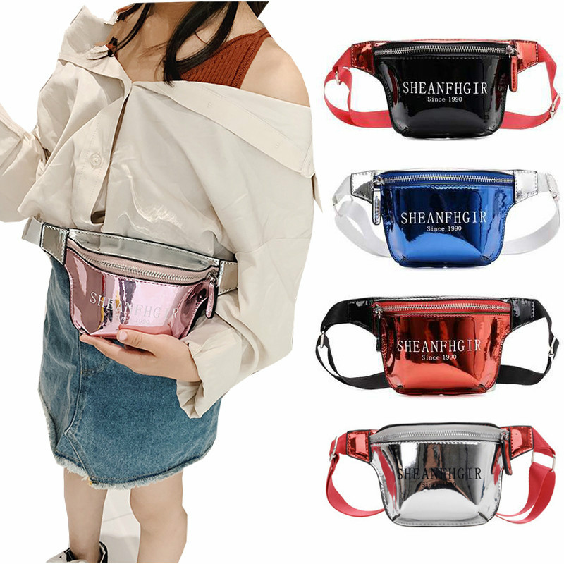 2019 PU Belt Bag For Children Waist Bag Boys Girls Shining Fanny Packs Kid Chest Bag Coin Purse Wallet Phone Waist Packs