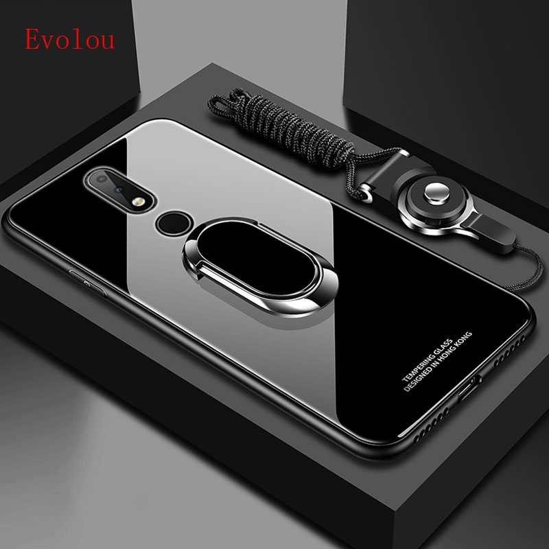 Stand Ring Magnet <font><b>Cover</b></font> For <font><b>Nokia</b></font> 9 X6 X7 <font><b>3.1</b></font> Plus 7.1 8.1 7 Plus 8 Sirocco Case Hard Tempered Glass Protective <font><b>Back</b></font> Case <font><b>Cover</b></font> image