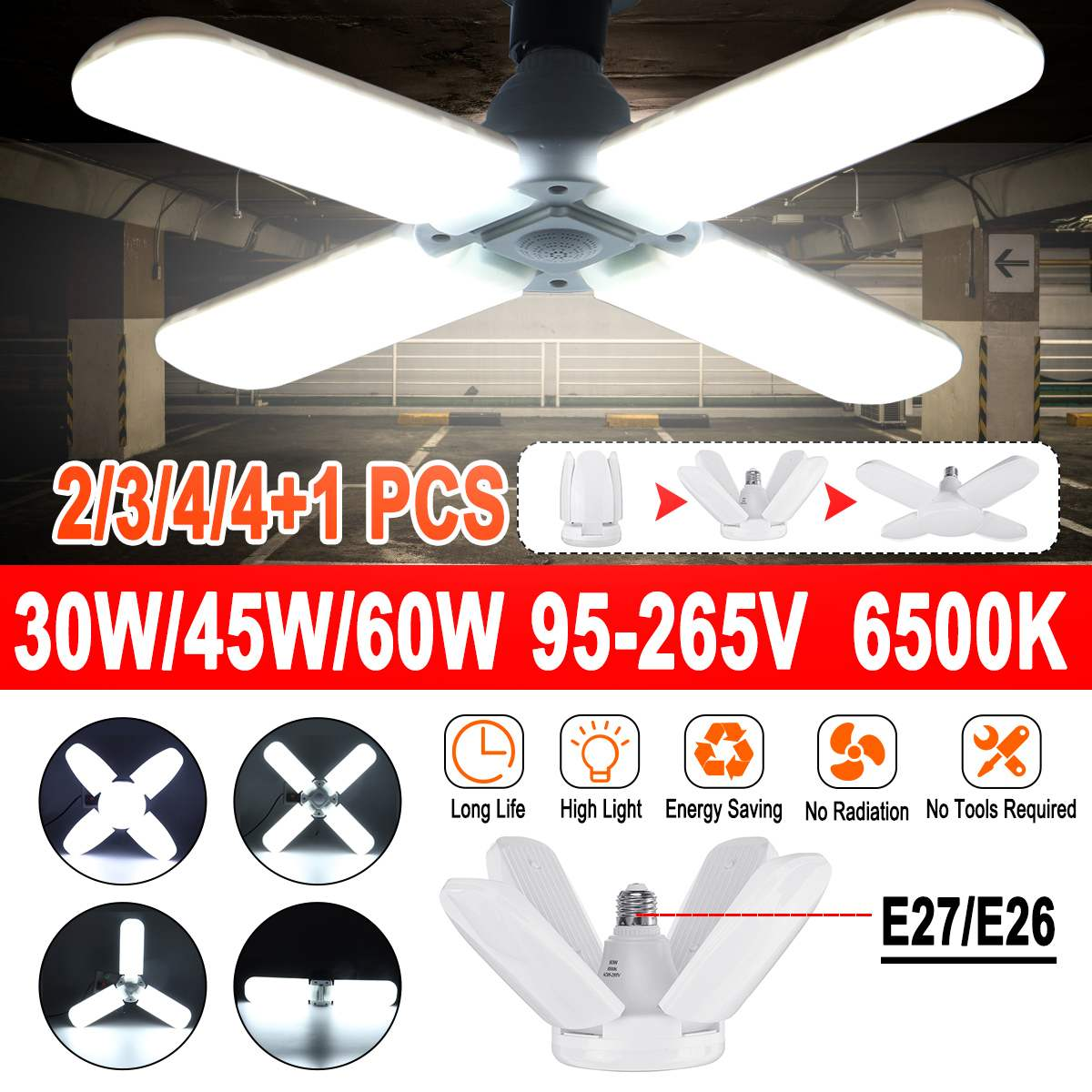 30W/45W/ 60W LED Garage Light E27/ E26 6500K Workshop Ceiling Lights Fixture Deformable Lamp Cold White Industrial Lighting