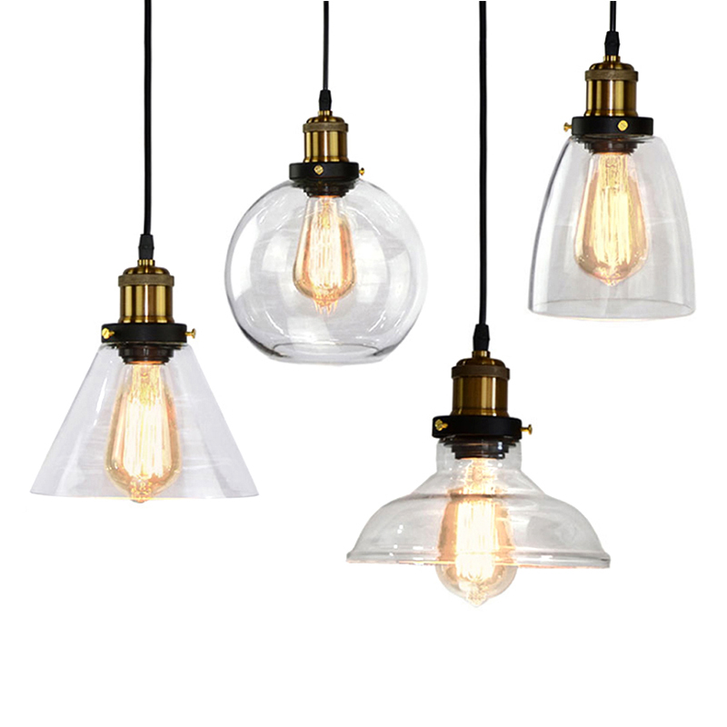 American Country Glass Lampshade Bedroom Bedside Pendant LOFT Retro Industrial Pastoral Wind Balcony Aisle Bar Restaurant Light