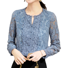 Lace bottom Women Blouse Shirt Floral Blusa Long Sleeve Spri