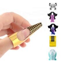 100 pçs/lote Extensão Prego Estêncil Adesivo Para Unhas Gel UV Dica Manicure Builder Design Molde Prego Form Guia Extensão