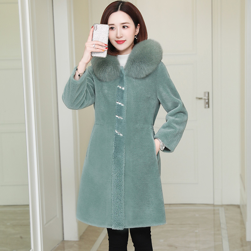 Autumn Winter Coat Women Clothes 2020 Real Fur Coat Fox Fur Collar 100% Wool Jacket Korean Sheep Shearling Suede Lining ZT3674