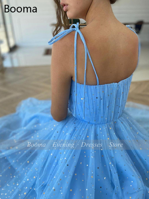 Fairy Blue Princess Prom Dresses Sparkly Starry Tulle Strapless Short Prom Gowns Pleated Tea-Length A-Line Formal Party Gowns 3