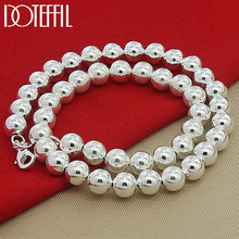 DOTEFFIL – collier de perles en argent Sterling 925, 10mm, perles lisses et creuses, pour femmes et hommes, bijoux de charme à la mode pour fiançailles et mariage