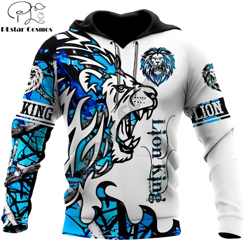 Beautiful Lion blue Tattoo camo 3D Printed Mens hoodies Harajuku Streetwear Fashion Hoodie Unisex Jacket Pullover KJ0137