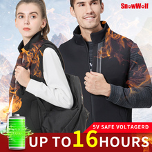 Snowwolf Men heated vest Women Winter Heated Vest USB infraded battery heating waistcoat thermal  outdoor jacket coat