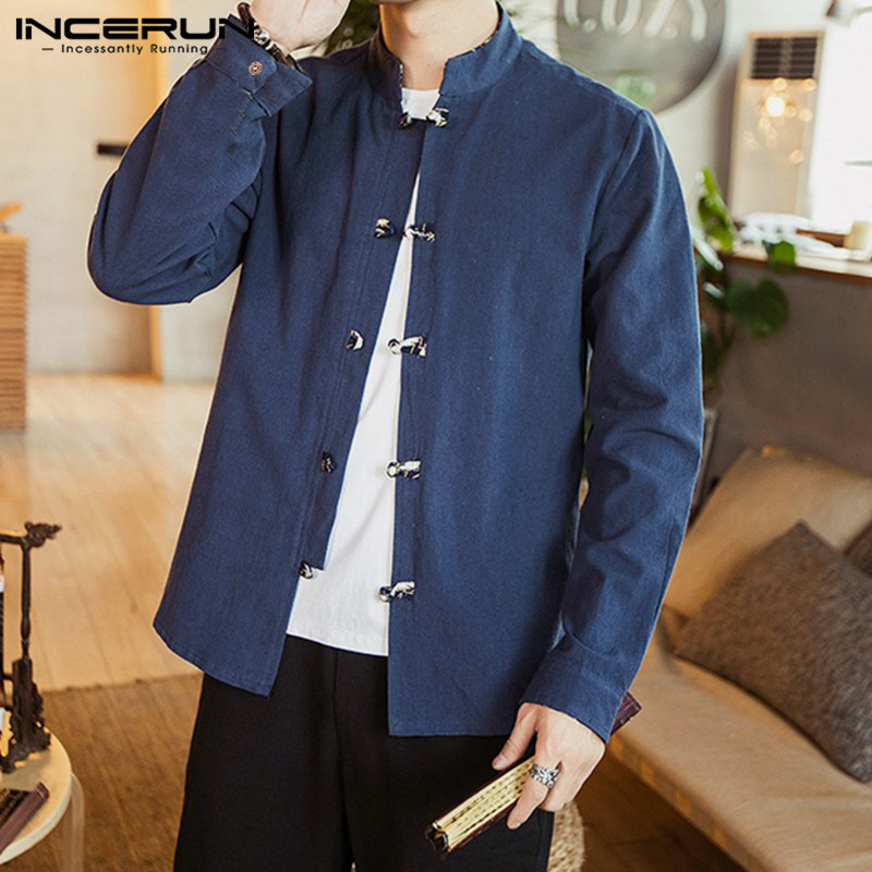 INCERUN Tang Suit <font><b>Men</b></font> Pure Color Collar <font><b>Vintage</b></font> <font><b>Shirt</b></font> Leisure Stylish Buckle Cotton <font><b>Linen</b></font> Print Sleeve High Street <font><b>Mens</b></font> Blouse image