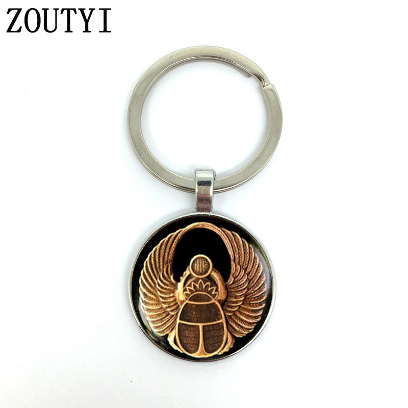 New/Charming Egyptian Power Symbol Scarab, Men's And Women's Keychain Premium Car Keychain And Convex Glass Keychain.
