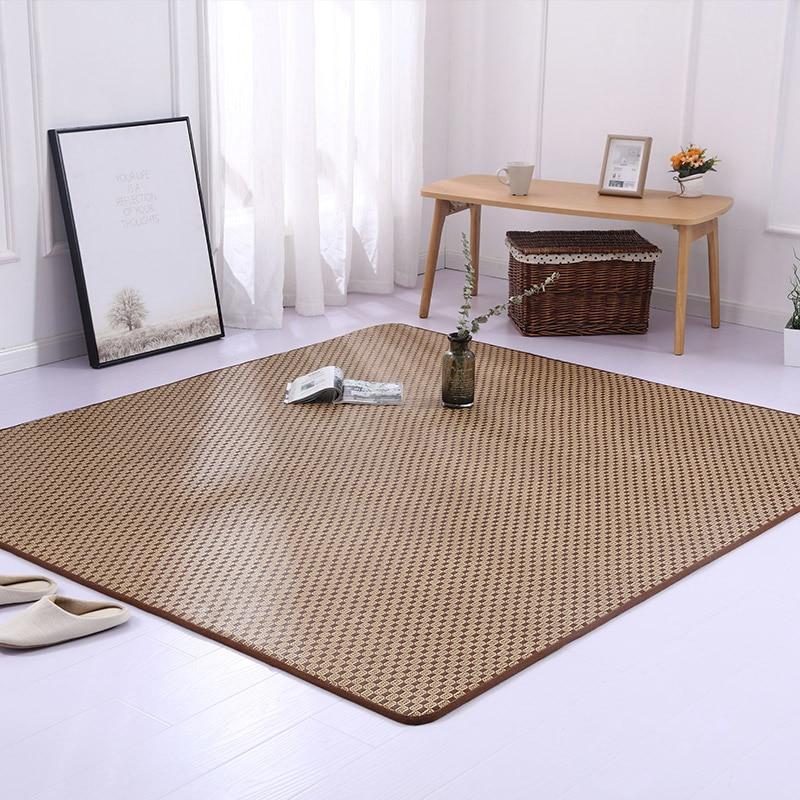 Japanese Rattan Tatami Carpet Summer Cool Area Rug Children Play Floor Mat Livingroom Kids Bedroom Parlor Large Rugs Customized