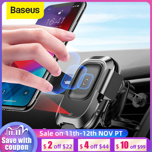 Image 1 - Baseus Car Phone Holder for iPhone Samsung Intelligent Infrared Qi Car Wireless Charger Air Vent Mount Mobile Phone Holder Stand