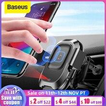 Baseus titular do telefone do carro para iphone samsung inteligente infravermelho qi carro sem fio carregador de ventilação ar montar suporte do telefone móvel