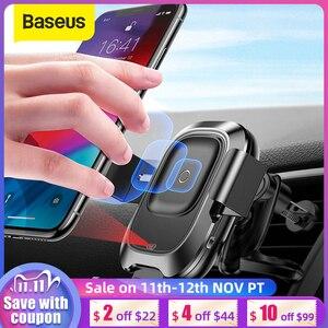 Image 1 - Baseus حامل هاتف السيارة آيفون سامسونج ذكي الأشعة تحت الحمراء تشى سيارة شاحن لاسلكي الهواء تنفيس جبل حامل هاتف المحمول حامل