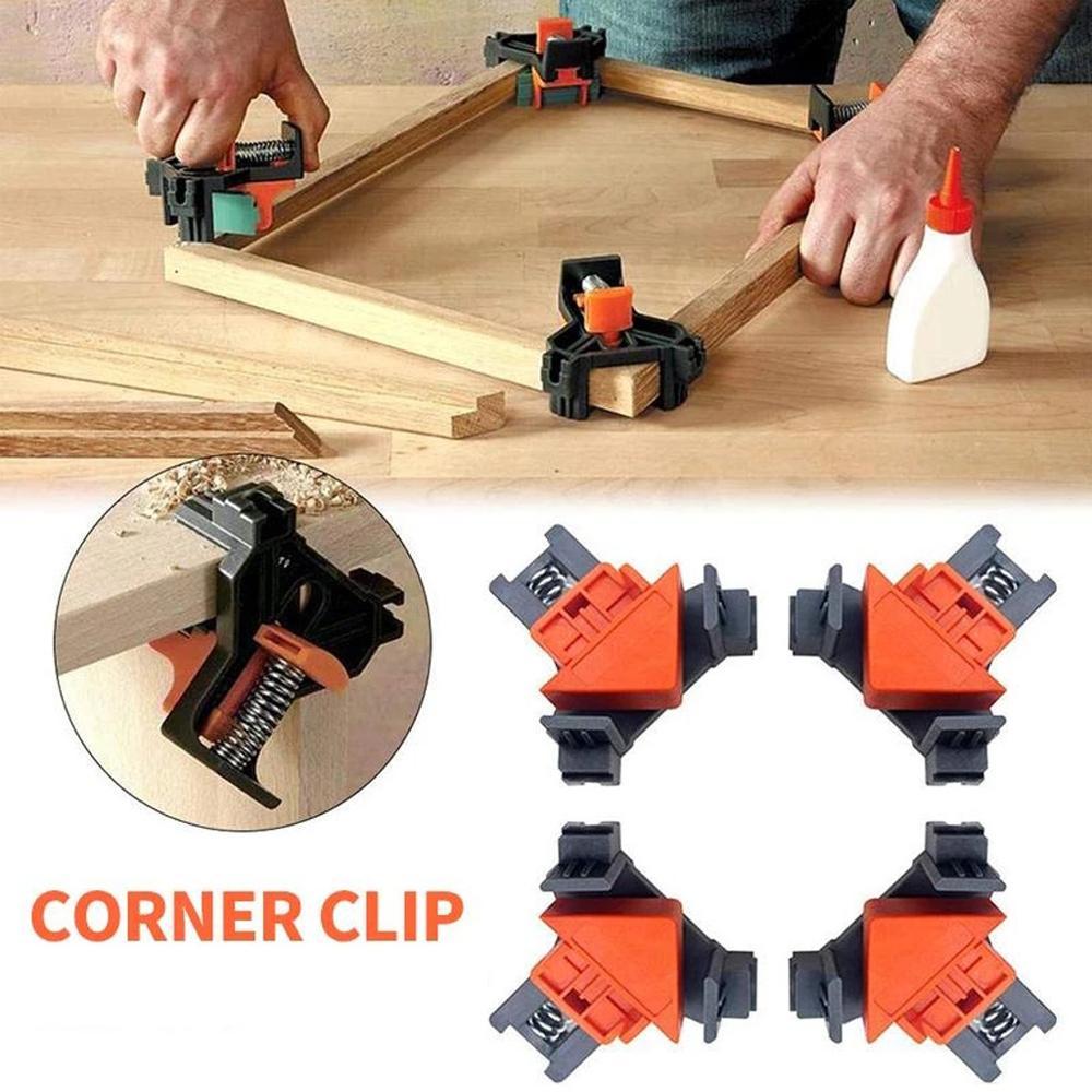4 pçs carpintaria canto clipe de 90 graus ângulo direito braçadeira fixação clipes quadro imagem canto braçadeira móveis repaire mão ferramenta|Grampos|   -