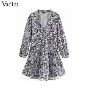 Image 1 - Vadim נשים רטרו הדפסת מיני שמלת V צוואר ארוך שרוול ישר סגנון נשי מזדמן בסיסי אופנה שמלות vestidos QD103